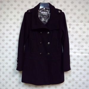 GUESS Lined Long Wool Double Breasted Coat EUC